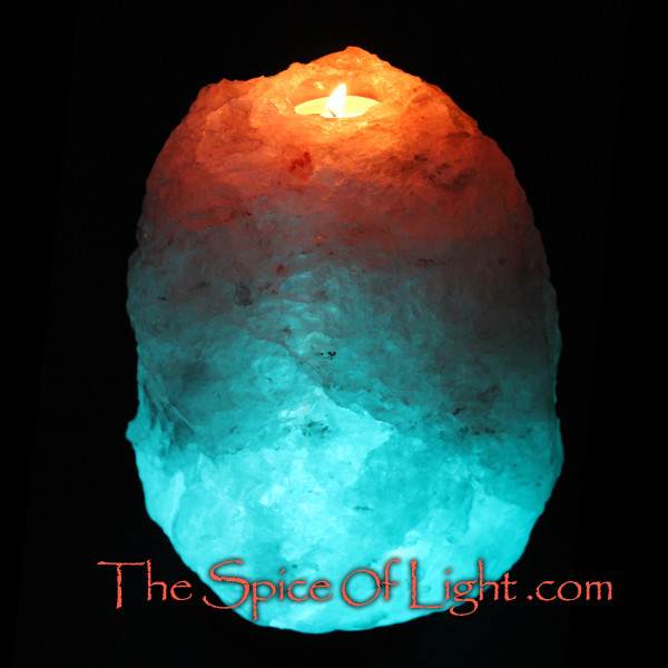 Volcano blue salt lamp candle holder